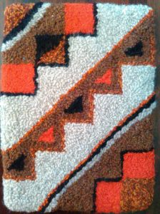 "Western Geometry""; 13.5""x10"", $65; Wool yarn"